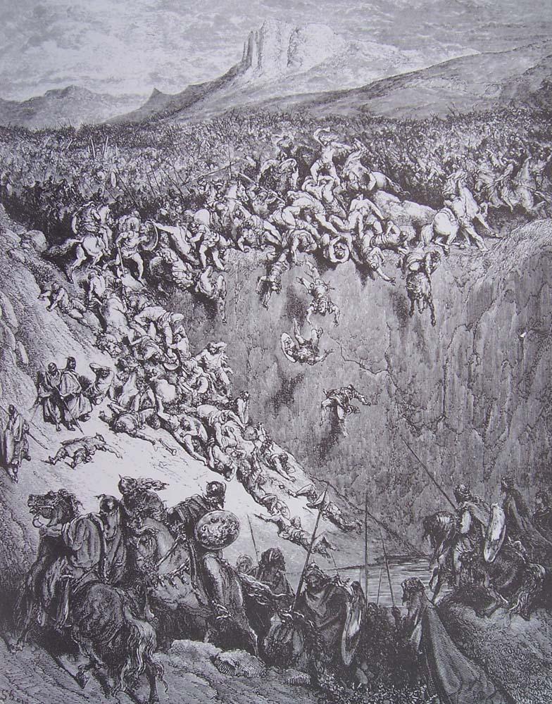 Samson tue les philistins avec la machoire d\'un ane. (Illustration de Gustave Doré: La bible illustrée)